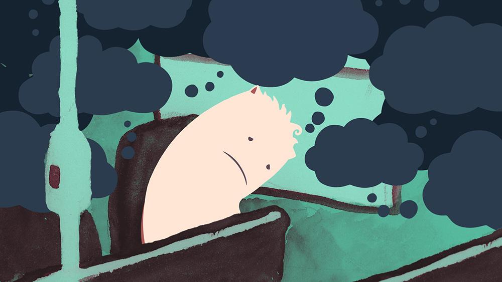 Trauriger, süßer Cartoon-Charakter umgeben von negativen Gedanken in Form von dunklen Gedankenblasen