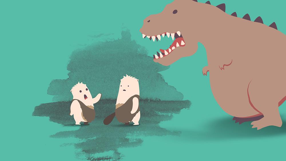 Zwei Neandertaler erschrecken sich vor Dinosaurier