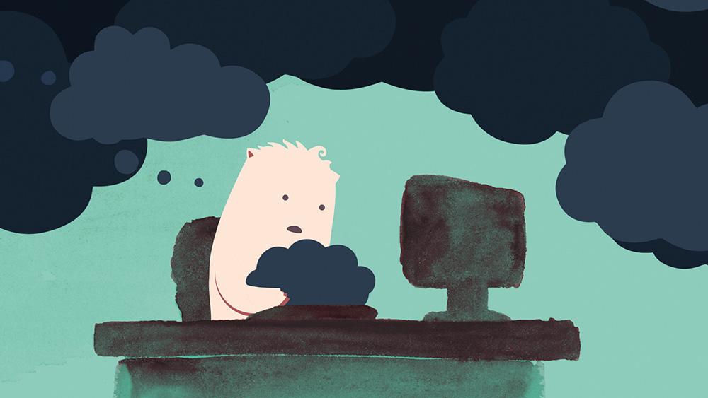 Grübelnder Cartoon-Charakter blickt auf seine negativen Gedanken in Form von dunklen Gedankenblasen