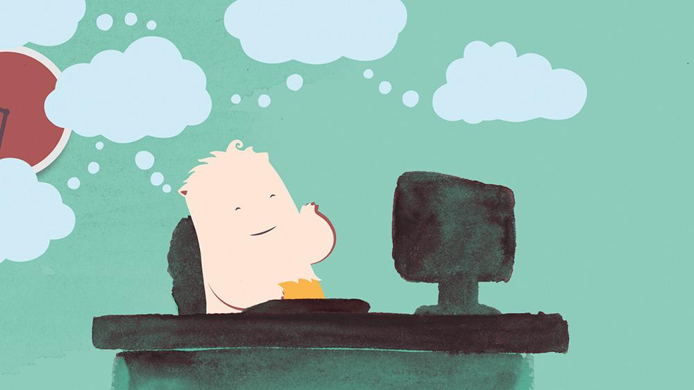 Glücklicher Cartoon-Charakter tippt auf Tastatur im Büro