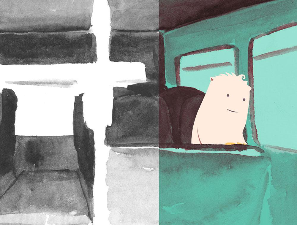 Flauschiger Cartoon-Charakter sitzt im Bus